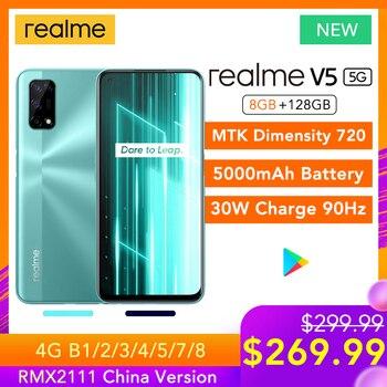 Перейти на Алиэкспресс и купить Realme V5 8 ГБ ОЗУ 128 Гб ПЗУ 5G сеть Helio 720 90 Гц Дисплей 30 Вт флэш-зарядка 5000 мАч 48мп камера Многоязычная Play Store