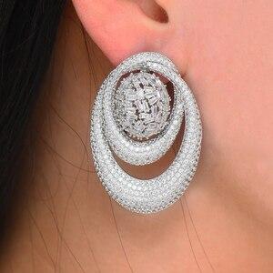 Image 2 - GODKI 43MM Famous Luxury Popular Waterdrop Stud Earring For Women Accessories Full Cubic Zirconia Earrings pendientes mujer moda