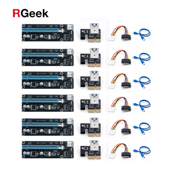 6 stücke Ver006 60cm Usb 3,0 pci e Extender Pci Express Riser Karte 1x Zu 16x Sata Zu 4pin ide Molex Power Für Btc Miner Maschine