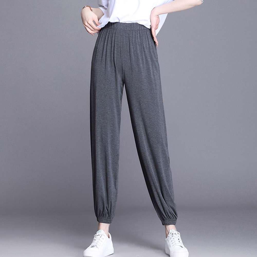 Loose High Elastic Modal Wide-leg Pants Women High Waist Bloomers Pants Trousers Summer Ankle Length Sofy Casual Pants Womens