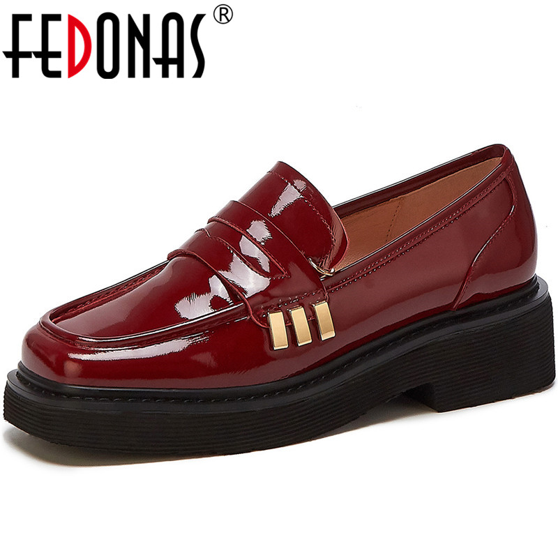 FEDONAS Women Cow Patent Leather Casual Shoes Spring Summer Metal Decoration Slip On Square Toe Brand Design 2020 Shoes Woman