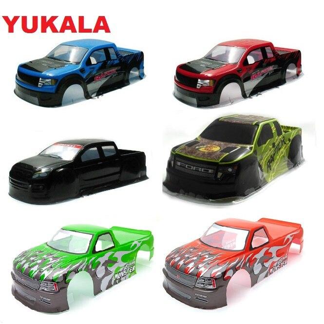 YUKALA 1/10 PVC Painted Body Shell For 1/10  RC Monster Truck 94188 Size 430/440/450mm*193mm  Wheel Base 260mm