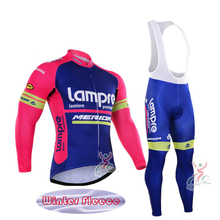 Winter Thermal Fleece Lampre Team cycling Ciclismo long sleeve Breathable Cycling jersey clothes MTB Bicycle clothing