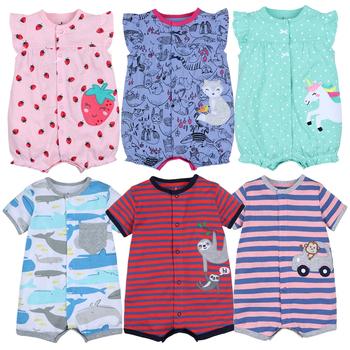 2021 letnie chłopięce Romper pajacyki z krótkim rękawem noworodek ubrania piżamy ze zwierzętami z kreskówek dla niemowląt tanie i dobre opinie COTTON CN (pochodzenie) Unisex W wieku 0-6m 7-12m 13-24m Cartoon baby O-neck Pojedyncze piersi Pasuje prawda na wymiar weź swój normalny rozmiar