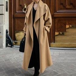 Lã longa mistura feminina primavera outono sólido camelo coreano escritório senhoras retro causal casaco ol quente casacos de inverno minimalista
