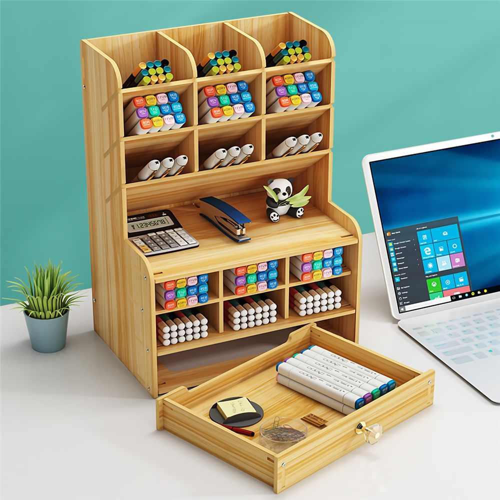 Multi-function Wooden Desktop Pen Holder Office School Stationery Storage Stand Case Desk Pen Pencil Organizer 2