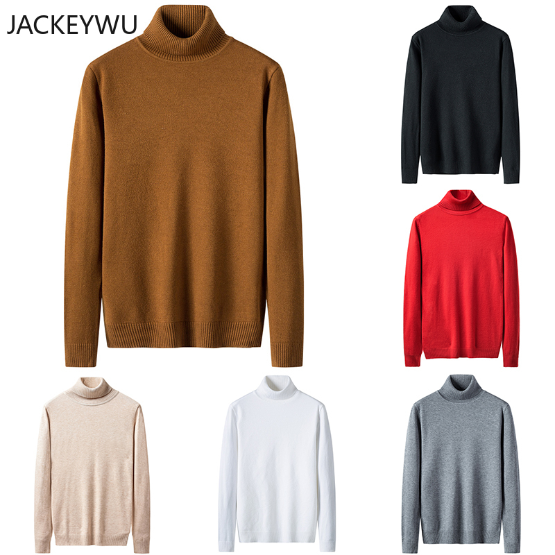 Brand Warm Turtleneck Sweater Men 2019 Winter Fashion Solid Color Turn-Down Collar Pullover Men Elastic Slim Knitwear Hip Hop
