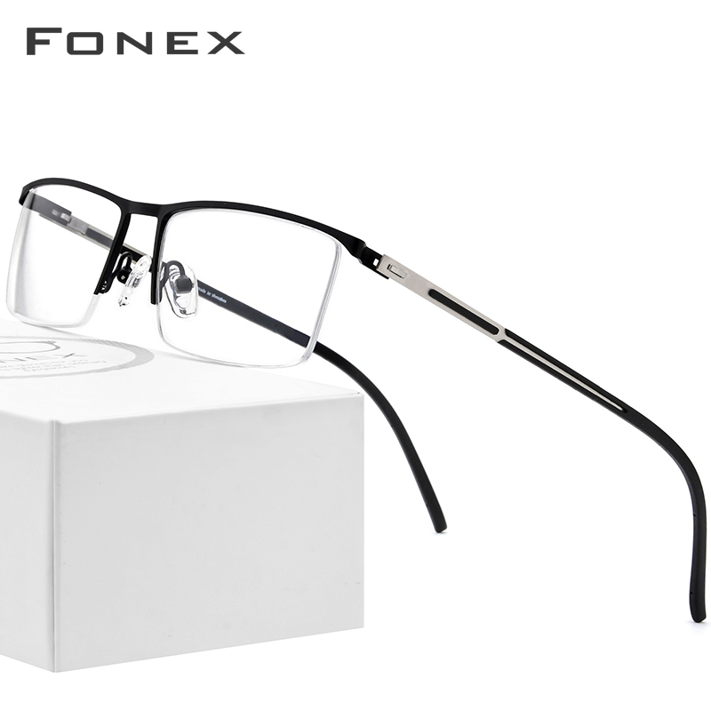 FONEX Alloy Prescription Glasses Ultralight Half Rim Square Myopia Eyeglasses Frame Men 2019 New Optical Screwless Eyewear 9857 image