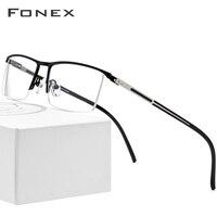 FONEX Alloy Prescription Glasses Ultralight Half Rim Square Myopia Eyeglasses Frame Men 2019 New Optical Screwless Eyewear 9857