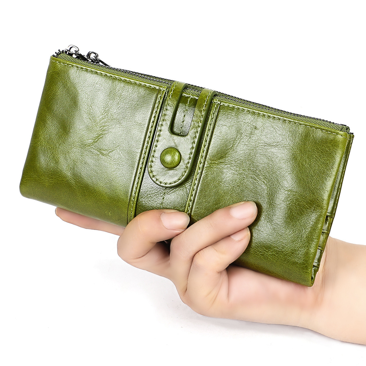 New Genuine Leather Wallet Women Handmade Vintage Luxury Brand Cartera Mujer Ladies Leather Wallets Long Rfid Wallet Protection in Wallets from Luggage Bags