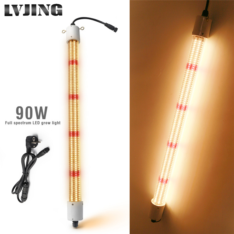 LVJING Led Grow Light 90W Full Spectrum 60cm Waterproof Phyto Lamp Tube Lights Bar For Indoor Greenhouse Plant Grow Tent W/ Plug