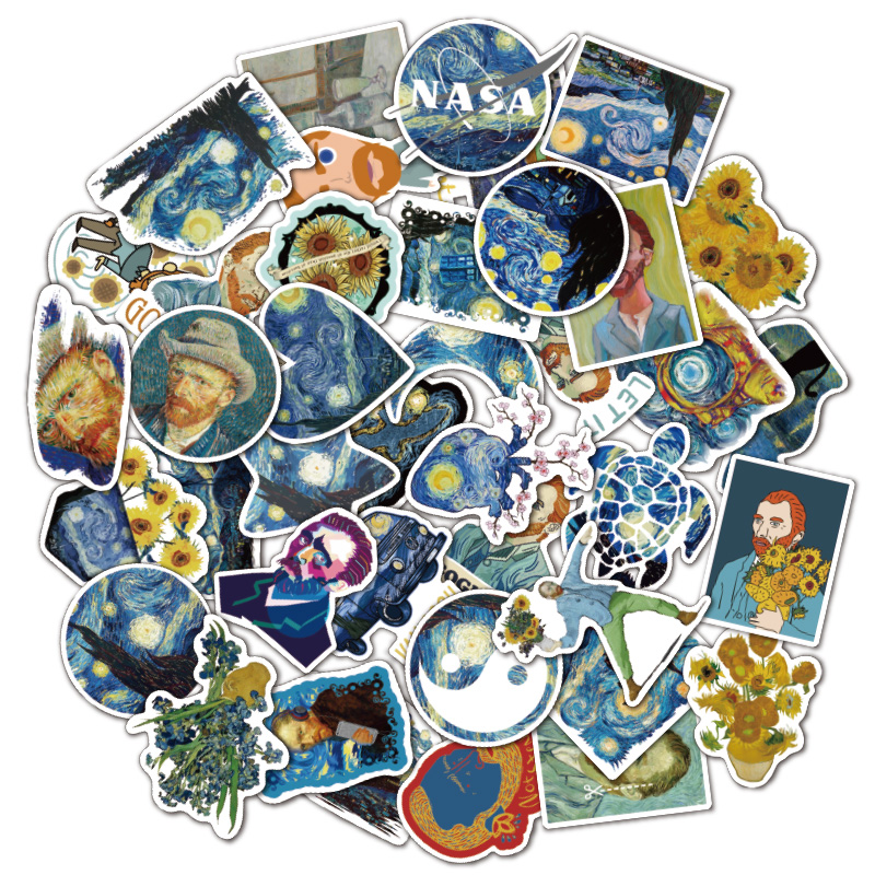 40pcs Vincent Willem Van Gogh Laptop Stickers DIY Sticker For Toys Bags Phone Desk Laptop Cars Bicycle Waterproof
