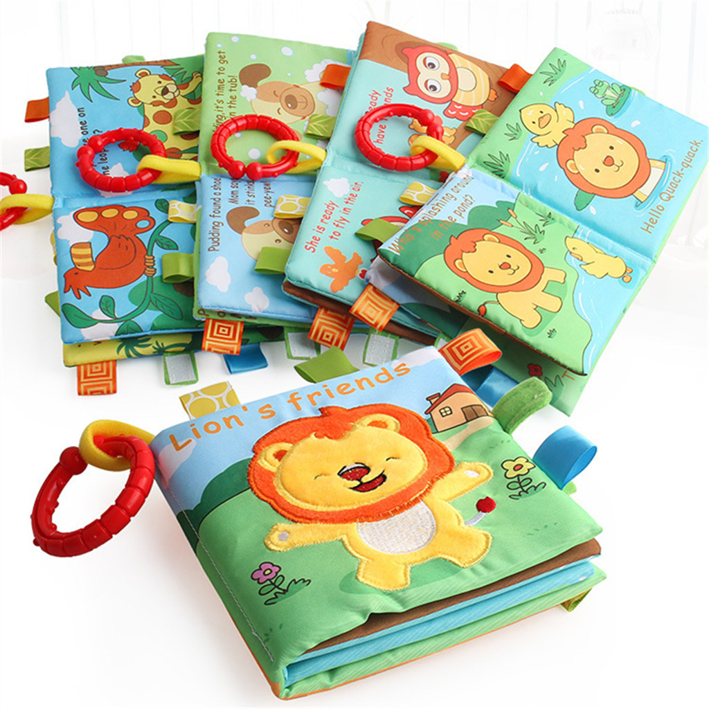 Newborn Baby Kids Intelligence Development 3D Rattle Early Learning Animal Picture BB Sound Cognize Cloth Book Educational Toy