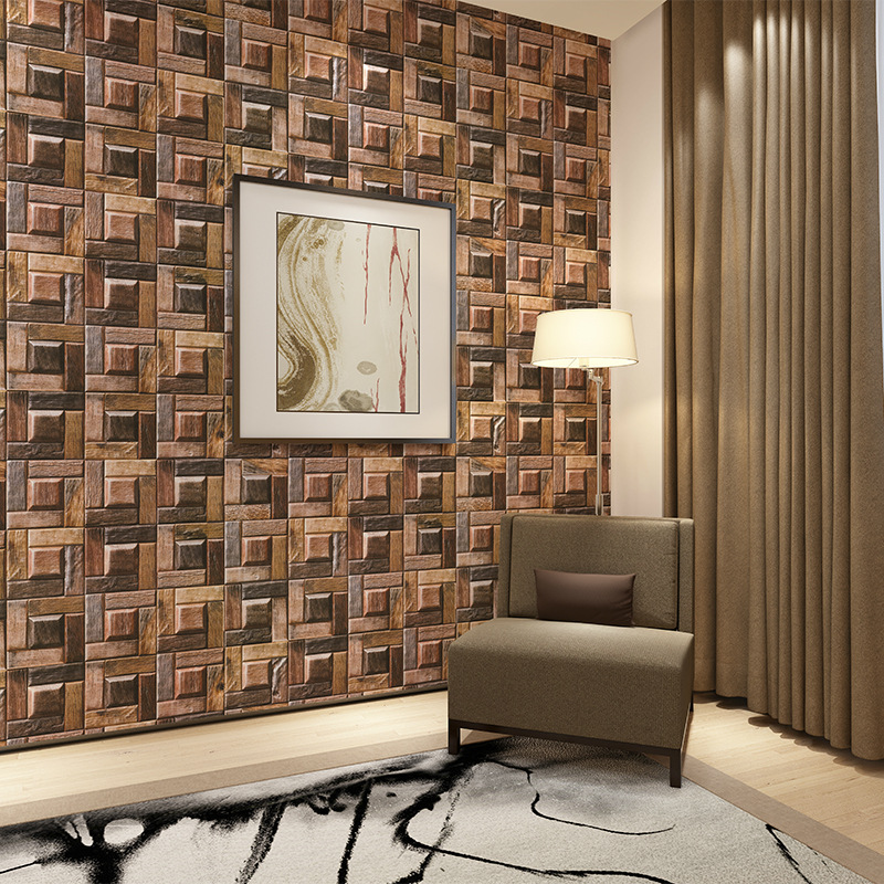 Model Brown Gray Wood Grain Plaid Bedroom Living Room Hotel Coffee Shop Office Tea House Wallpaper