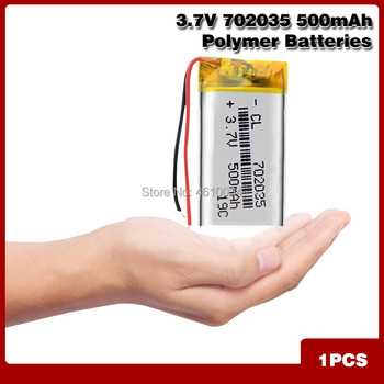 Rechargeable Batteries 3.7V 500mAh 702035 Lithium Li-polymer Li-Po Battery For Toy MP3 MP4 GPS BT Speaker Headset DIY image