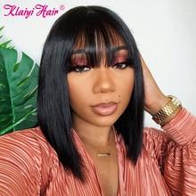 Klaiyi Hair Wig Frontal-Wigs Bangs Lace Pre-Plucked Straight Bob Brazilian 13x4