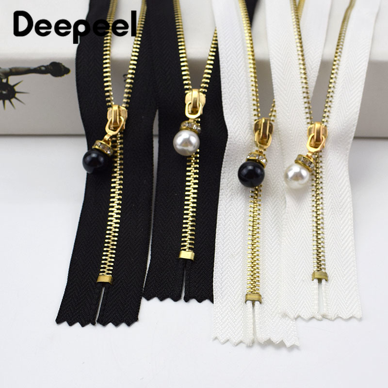 3/5pcs 3# Metal Close End Zippers 20/30cm Gold Teeth Long Zip Closure for Sewing Bags Down Jacket Skirt Clothing Accessory ZA031