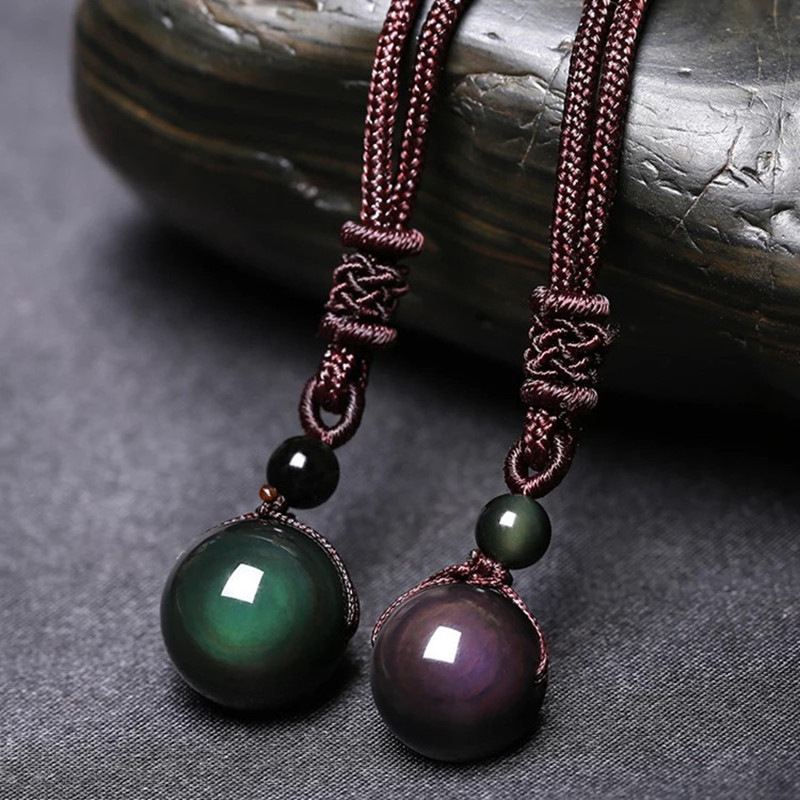 Pendant Necklace Jewelry Amulet Rainbow-Eye-Beads-Ball Natural-Stone Black Obsidian Lucky title=