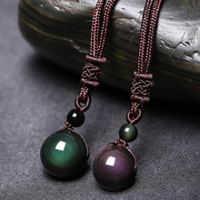Black Obsidian Rainbow Eye Beads Ball Natural Stone Pendant Transfer Lucky Love Crysta Amulet Necklace Jewelry