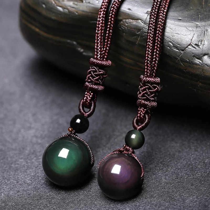 Obsidian preto arco-íris contas de olho bola pedra natural pingente transferência lucky love crysta amuleto pingente colar jóias