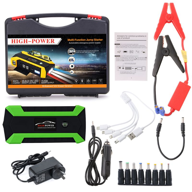89800mAh 4 USB Portable Car Jump Starter Pack Booster Charger Battery Power Bank U1JF