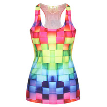 New Arrival Women Popular Tops Fashion Sexy T-Shits 2019  Punk Style 3D ColorfulFitness Vests Club Wear Slim Skinny Tank