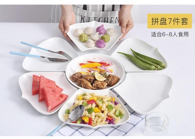 Ensembles de plats et d'assiettes en porcelaine | Vaisselle de cuisine, bol à dîner céramique porcelaine chinoise - 2