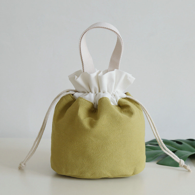 New Style Summer Cotton Linen Fabric Handbag Women's Bucket Bag Mobile Phone Bag Bai Da Xiao Cloth Bag Bento Box Bag