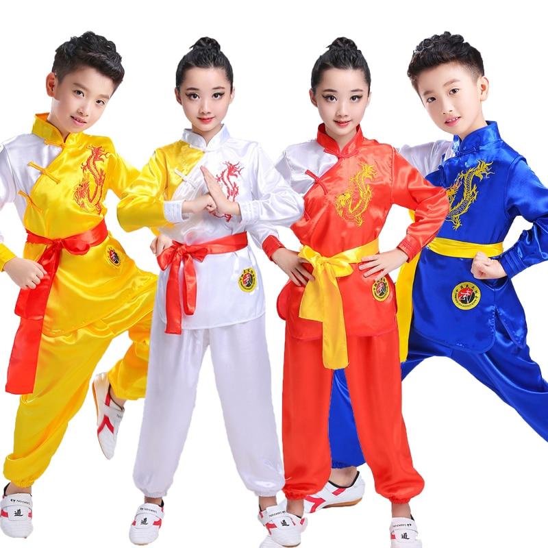 Детская Китайская традиционная одежда для ушу, униформа для боевых искусств, костюм кунг фу, костюм для девочек и мальчиков, сценический костюм|Танцевальный костюм для китайских народный танцев| | АлиЭкспресс