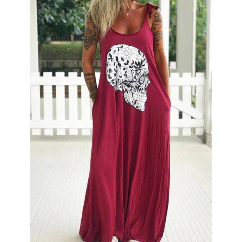 Summer Dresses Women Punk Style Loose Halter Neck Sleeveless Skull Print Female Shirt Dress Street Side High Split Flower Print 22