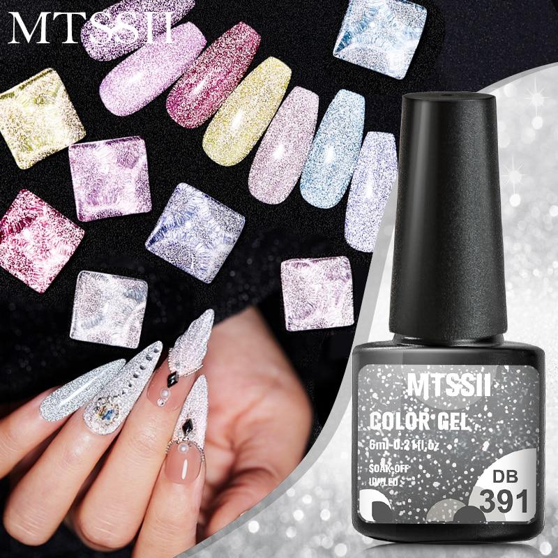 Mtssii Reflective Glitter Gel Nail Polish 6ml Sparkling Auroras UV LED Nail Gel Nail Art Varnishes Semi Permanent Top Base Coat