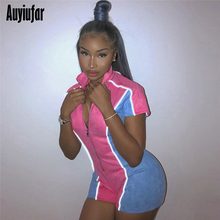 Auyiufar Fashion Patchwork Women's Playsuit Reflective Striped Zipper Skinny Rompers 2019 New Sporty Workout Bodycon Jumpsuits