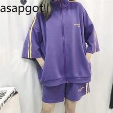 Chándal coreano de rayas moradas con estampado de letras para mujer, chándal de manga de tres cuartos, cintura alta elástica, informal, holgado, trajes de 2 piezas