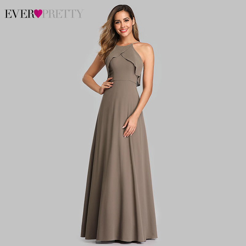 Ever Pretty Elegant   Bridesmaid     Dresses   A-Line Halter Ruffles Simple Chiffon Wedding Guest   Dresses   EP07130CH Vestidos Fiesta Boda