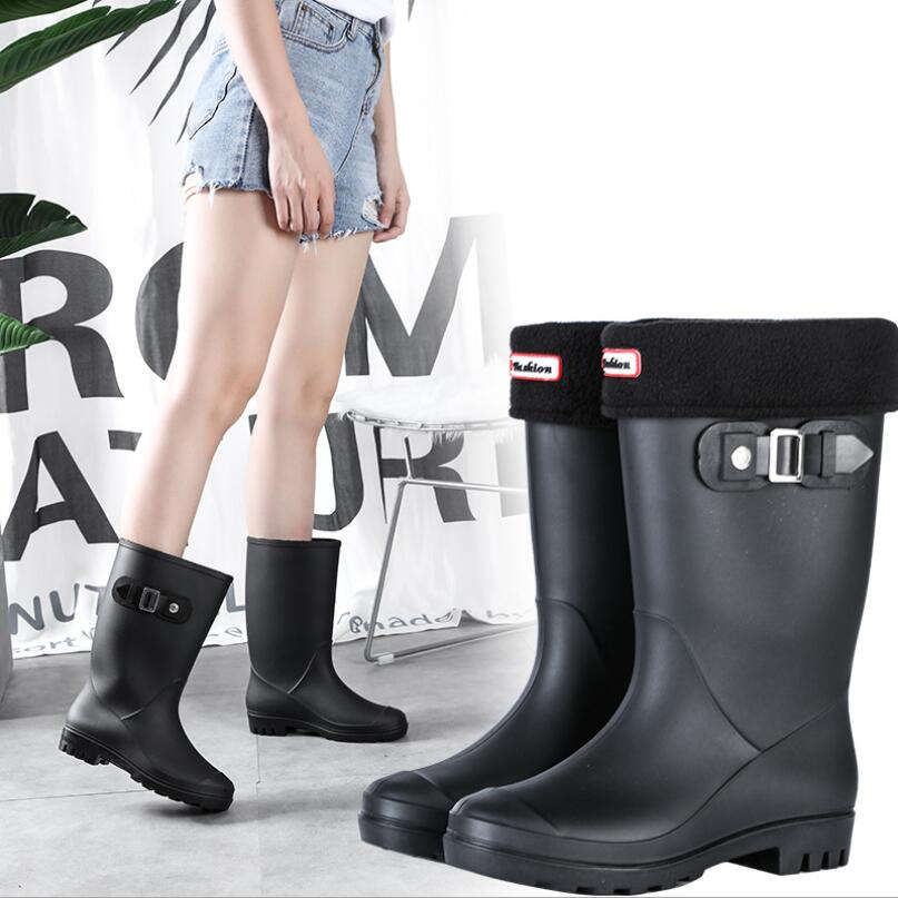 NKLSA Women Rubber Boots Water Boots Middle Tube Rain Boots Women Non-slip Waterproof Lady Shoes Outdoor Women Winter Shoes
