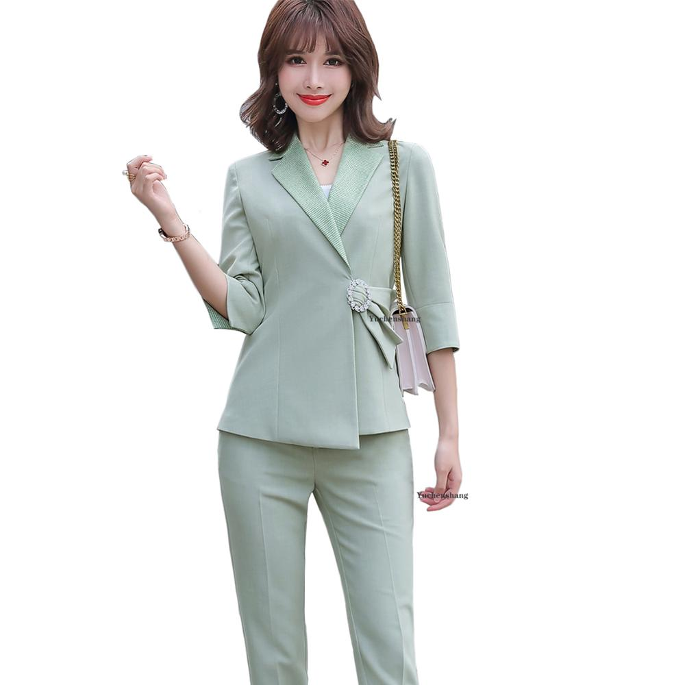 Women Half Sleeve Green Pant Suit Plus Size 5XL Elegant Apricot Black Blazer Jacket Coat And Pant 2 Piece Set For Lady