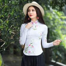 Traditional Chinese clothing 2020 women autumn elegant ethnic long sleeve mandarin collar embroidery cotton blouse shirt DF365(China)