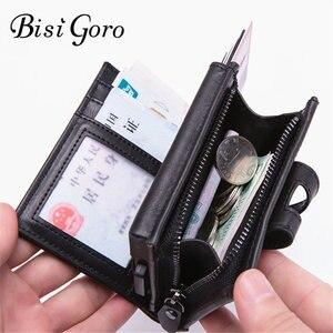 Image 1 - BISI GORO cartera inteligente para hombre y mujer, tarjetero multifuncional de Metal RFID de aluminio con bloqueo para tarjetas de viaje, 2019