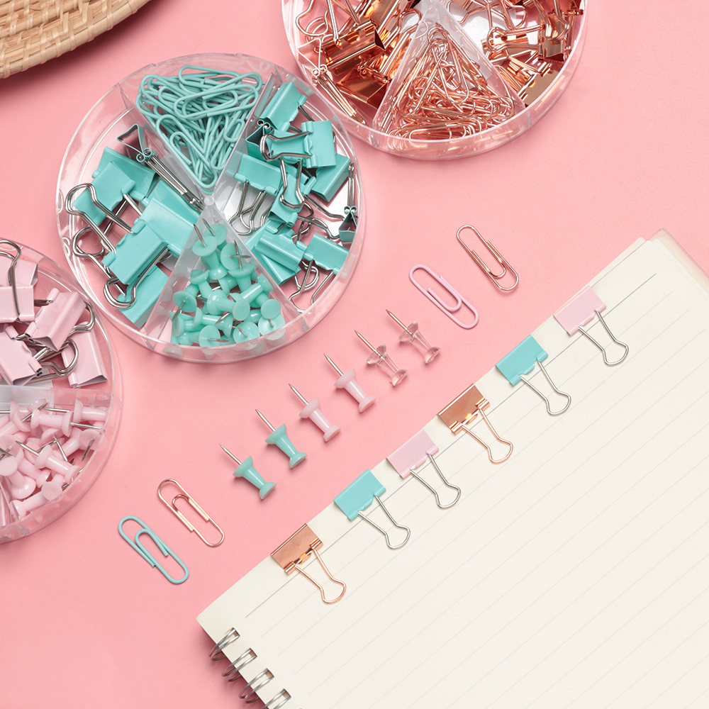 Boxed Rose Gold/Candy Green Metal Clip Large-headed Binder Clips Office Binding Supplies Combination Set Stationery NEW Hot