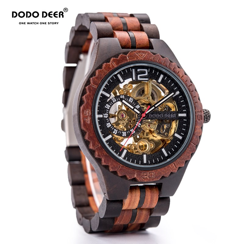 DODO DEER Wooden Mechanical Watch Men Relogio Masculino Women Men Watches Luxury Timepieces Erkek Kol Saati Dropshipping D18
