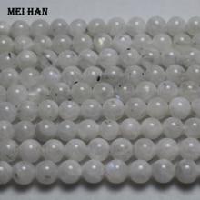 Meihan Cuentas redondas lisas de piedra lunar azul para fabricación de joyas, genuinas, A + 8mm + 0,2, DIY