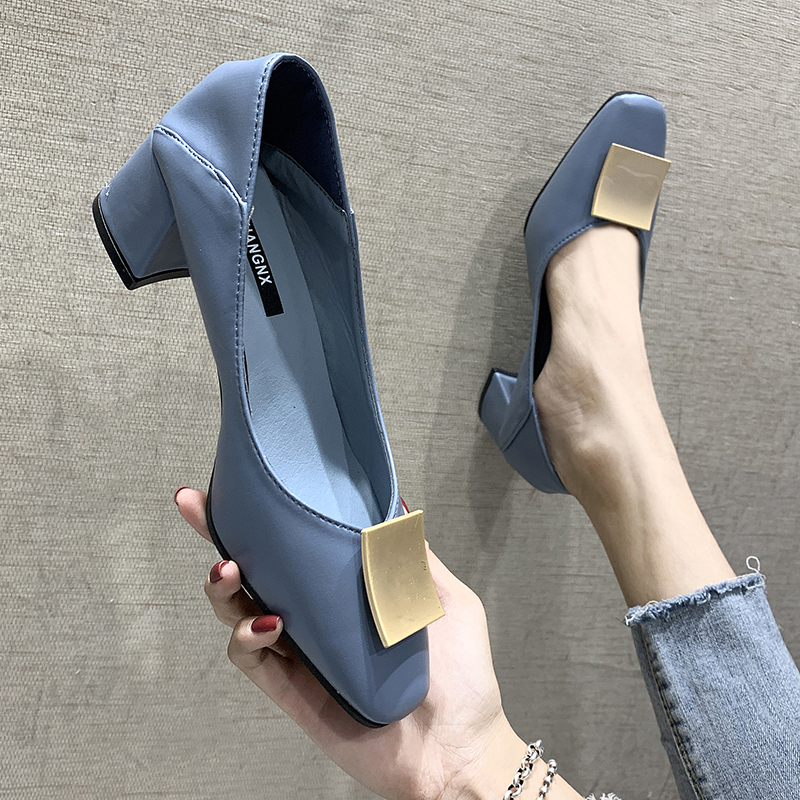 EOEODOIT Autumn Leather Heels Shoes Metal Buckle Decoration Square Toe Med Heel Slip On Casual Women Pumps Office Daily Shoes