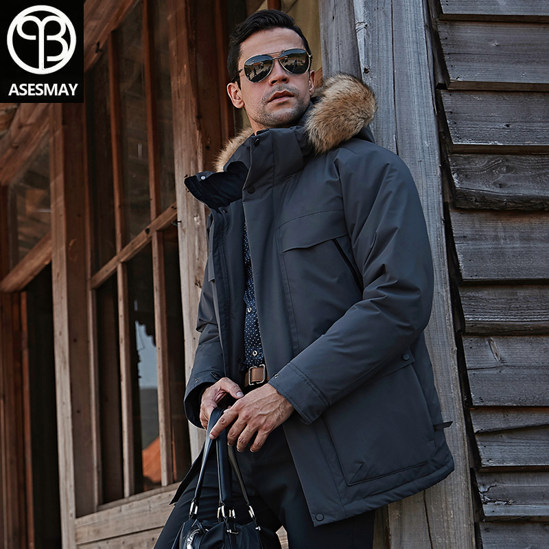 New Arrival Men Winter Coat Down Jacket Warm Parkas Fur Hooded Long White Duck Down Male Brand Coats Tracksuits Snow Outerwear