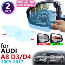 Dla Audi A8 D3 D4 4E 4H S8 A8L 2003 ~ 2017 pełna pokrywa lusterko wsteczne Anti-Fog filmy przeciwdeszczowe Anti Fog Film czyste akcesoria samochodowe