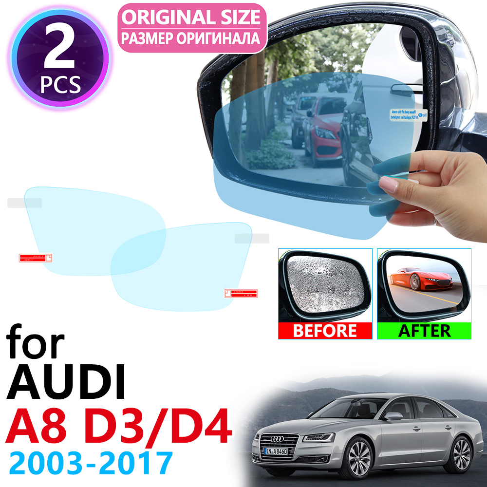 for <font><b>Audi</b></font> <font><b>A8</b></font> <font><b>D3</b></font> D4 <font><b>4E</b></font> 4H S8 A8L 2003~2017 Full Cover Rearview Mirror Anti-Fog Films Rainproof Anti Fog Film Clean Car Accessories image