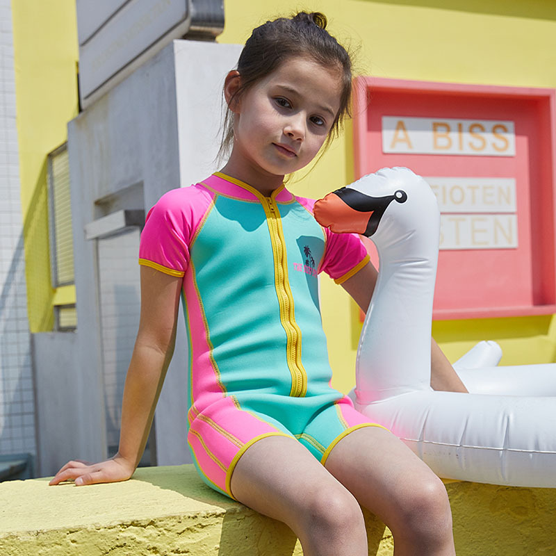 2019 New Style Small Girls Diving Preserving Warm Winter Bathing Suit Wetsuit KID'S Swimwear Thick Cold Diving Suit