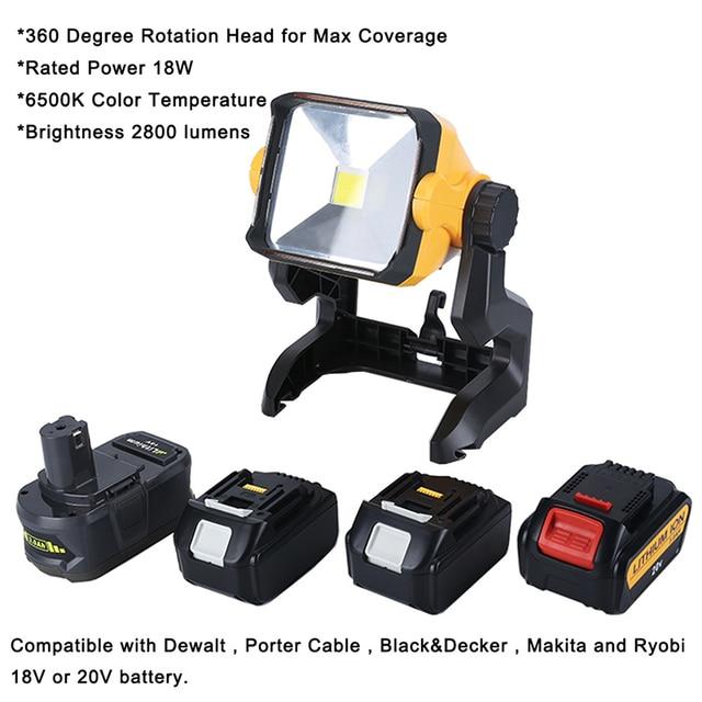 Dla DeWalt obsługi Makita Ryobi 18V 20V przenośny reflektor Led super jasne Led światło robocze akumulator Lampe Led światła za pomocą narzędzia baterii