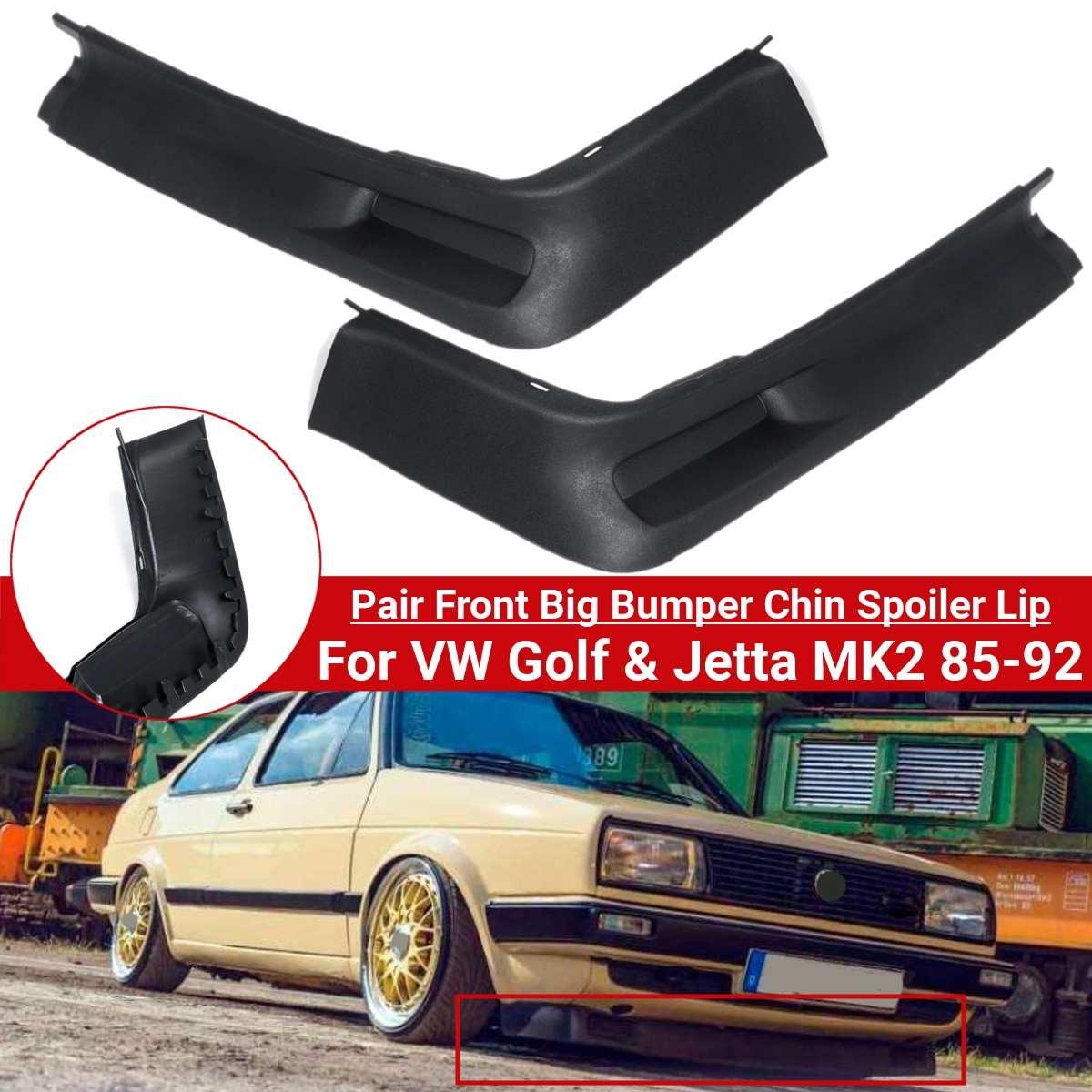 Pair Valance Splitter Front Big Bumper Chin Spoiler Lip For VW Golf For Jetta MK2 85-92 Car Exterior Parts Bumper Accessories