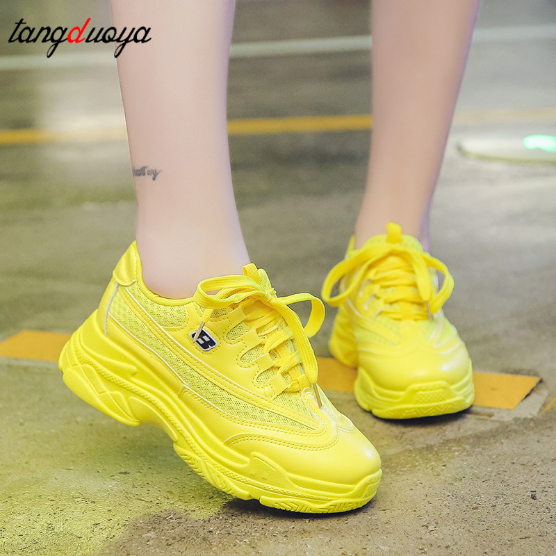 Green Yellow Sneakers Trainers Women Shoes Chunky Sneakers Women Shoes Sneakers Casual Shoes Mesh Sneakers Shoe Zapatillas Mujer