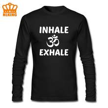 Inhale Exhale Yoga Om Logo Long Sleeves Indian Buddha Men's Hindu Lord Shiva Tee Shirt Thanksgiving Day Clothes Birthday Gift(China)